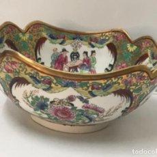 Antigüedades: CENTRO DE PORCELANA CHINA. FAMILIA ROSA. CANTÓN. DECORADA A MANO. FIRMADO PRIMERA MITAD S.XX. Lote 294570338