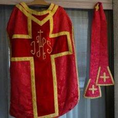 Antigüedades: PRECIOSA CASULLA Y ESTOLA,SIGLO XIX. Lote 294809908