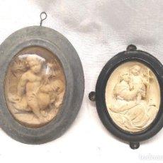 Antigüedades: DEVOCIONARIOS RELICARIOS ESPUMA DE MAR SEPIOLITA SIGLO XIX, VIRGEN CON NIÑO JESÚS Y ANGEL. Lote 294820553