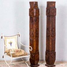 Antigüedades: PAREJA DE COLUMNAS ANTIGUAS DE ROBLE. Lote 294853818