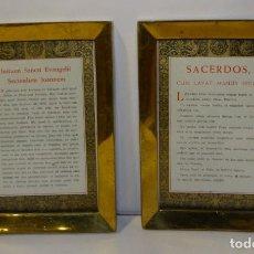 Antigüedades: SACRAS LITURGICAS ESCRITAS EN LATÍN ENMARCADAS MARCO DE BRONCE CONSERVAN SU COLOR. Lote 294868183