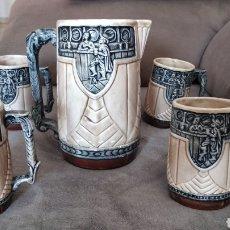 Antigüedades: JUEGO JARRAS CERVEZA. Lote 294900118