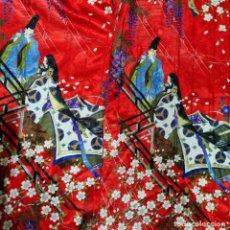 Antigüedades: CONSERVADO Y PRECIOSO KIMONO EN SEDALINA ROJO MADE IN JAPAN. Lote 294952258