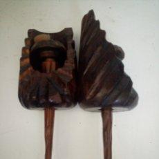 Antigüedades: APLIQUES ANTORCHAS MADERA. Lote 294974283