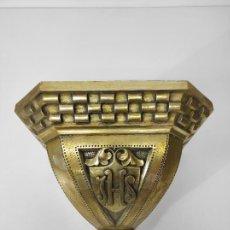 Antigüedades: PRECIOSA PEANA NEOGÓTICA - MÉNSULA EN MADERA DORADA EN PAN DE ORO - ALTURA 30 CM - FINALES XIX. Lote 295290968