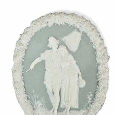 Antigüedades: PLACA MEDALLÓN EN PORCELANA WEDGWOOD. 20X16CM. Lote 295488948