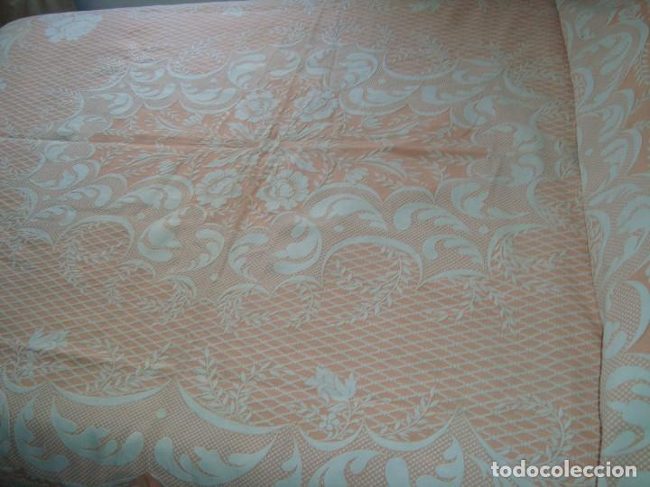 Antigüedades: ANTIGUA COLCHA DE ALGODÓN ROSA Y BLANCO 210cm x 255cm. - Foto 3 - 129008539