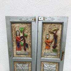 Antigüedades: PAR DE PUERTAS DE ARMARIO CON ESCULTURA DE OFICIOS!. Lote 295542098