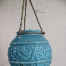 Antigüedades: LAMPARA TULIPA OPALINA AZUL. Lote 295564143
