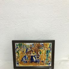 Antigüedades: CUADRO RELIGIOSO CON AZULEJOS! NACIMIENTO NIÑO JESÚS!. Lote 295591093