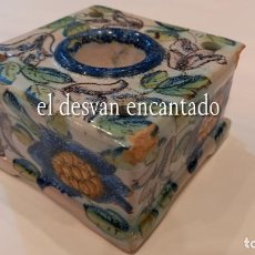 Antigüedades: ANTIGUO TINTERO CERÁMICA DE MANISES. VER FOTOS. Lote 295793903