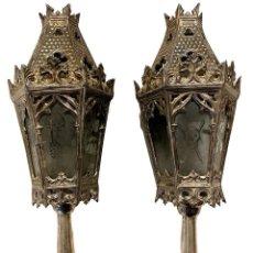 Antigüedades: ANTIGUO FAROL PROCESIONAL DE BRONCE BAÑADO EN PLATA. NEOGÓTICO. XIX. 54X22X22. Lote 295960018