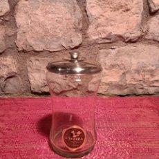 Antigüedades: ANTIGUO TARRO DE CRISTAL SOPLADO DE BOMBONES DE LA FAMOSA PASTELERÍA CONFITERÍA DE BARCELONA ESCRIBÀ. Lote 296051393