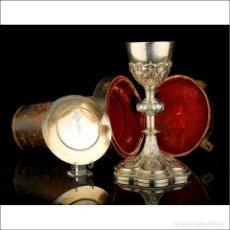 Antigüedades: CÁLIZ ANTIGUO EN PLATA DORADA CON PATENA. 100% PLATA. FRANCIA, SIGLO XIX. Lote 296834158