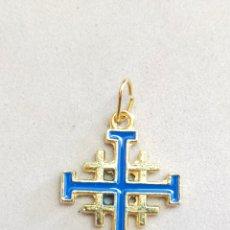 Antigüedades: CRUZ DE JERUSALEN EN METAL DORADO Y ESMALTE.. Lote 297113548