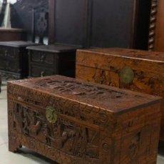 Antigüedades: BAÚL TALLADO EN MADERA, MOTIVOS ORIENTALES, DECORACIÓN, HOGAR.. Lote 297250283