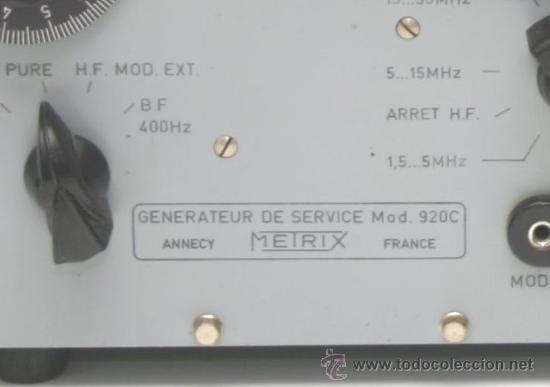 Radios antiguas: GENERADOR DE SERVICIO Mod.920C METRIX ANNECY FRANCE - Foto 2 - 33233385
