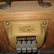 Radios antiguas: ANTIGUO TRANSFORMADOR REVERSIBLE LOIJE (ZARAGOZA) 125-220 V POTENCIA 1500 VA. Lote 48423361