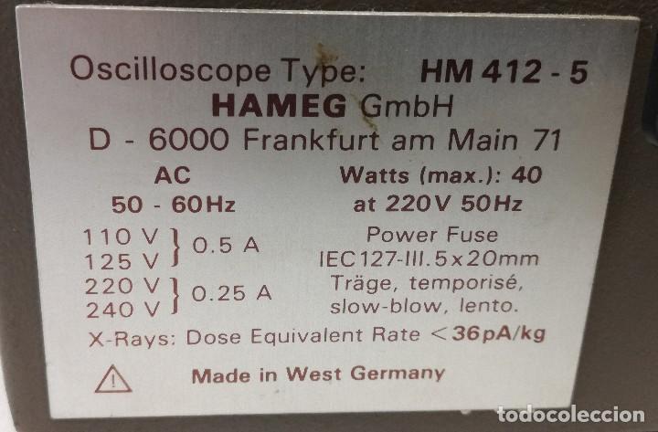 Radios antiguas: OSCILOSCOPIO ANALOGICO HAMEG HM412-5 Años 80 - Foto 5 - 115688079