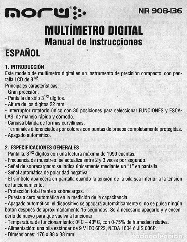Radios antiguas: POLIMETRO DIGITAL MULTIMETRO CAPACIMETRO FRECUENCIMETRO NORU NR908-136 + CURSO PDF GRATIS - Foto 5 - 223068386