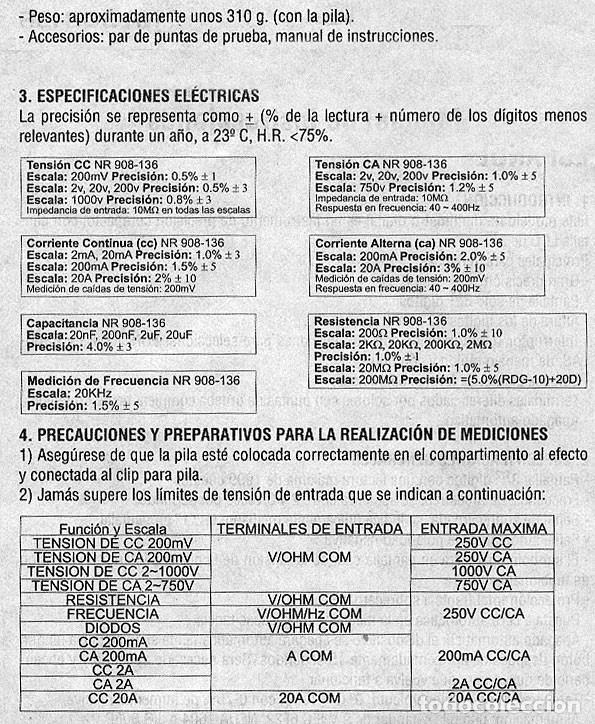 Radios antiguas: POLIMETRO DIGITAL MULTIMETRO CAPACIMETRO FRECUENCIMETRO NORU NR908-136 + CURSO PDF GRATIS - Foto 6 - 223068386