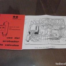 Rádios antigos: MANUAL DEL COMPROBADOR DE VALVULAS **ERATELE**. Lote 183607352