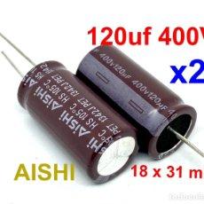 Radios antiguas: X2 PCS. CONDENSADOR 120UF 400V ELECTROLITICO 18 X 36 MM RADIAL. Lote 223865591