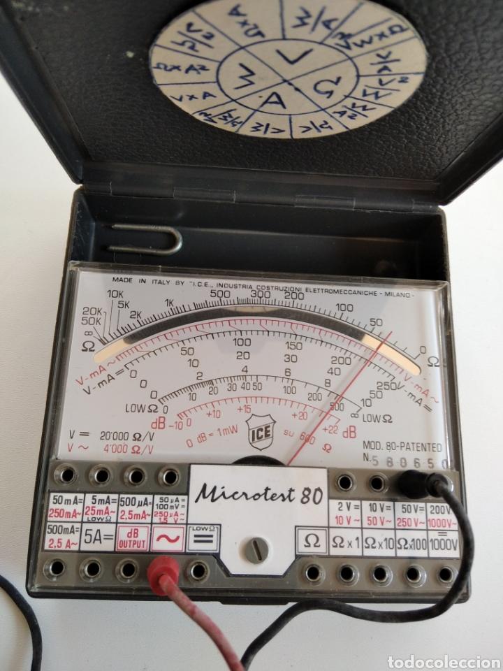 Radios antiguas: Tester vintage analógico ICE microtest 80 - Foto 3 - 244866860