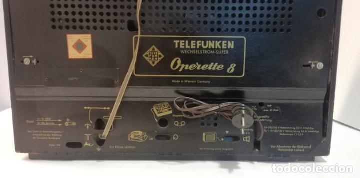 Radios antiguas: Antigua Radio Telefunken, Operette 8 . FUNCIONANDO MUY BUEN SONIDO!! y estado!!!!!!!!!!!! - Foto 7 - 251358080
