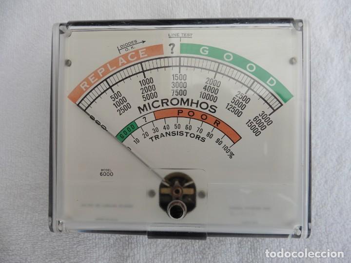 INSTRUMENTO DE MEDIDA CORRESPONDIENTE AL COMPROBADOR DE VÁLVULAS Y TRANSISTORES HICKOK SERIE 6000. (Radios - Aparatos de Reparación y Comprobación de Radios)