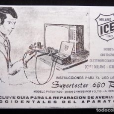 Radios antiguas: MANUAL DE INSTRUCCIONES ICE SUPERTESTER 680 R. MILANO ITALY. AÑOS 70. FOTOCOPIADO. Lote 263264960