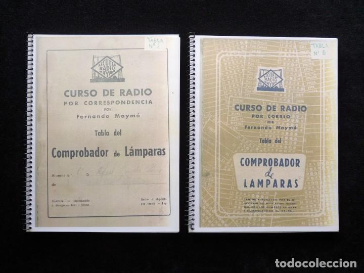 TABLAS DEL COMPROBADOR DE LAMPARAS CURSO RADIO ESCUELA DE RADIO MAYMO, BARCELONA, AÑOS 50. FOTOCOPIA (Radios - Aparatos de Reparación y Comprobación de Radios)