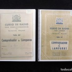 Radio antiche: TABLAS DEL COMPROBADOR DE LAMPARAS CURSO RADIO ESCUELA DE RADIO MAYMO, BARCELONA, AÑOS 50. FOTOCOPIA. Lote 263265490