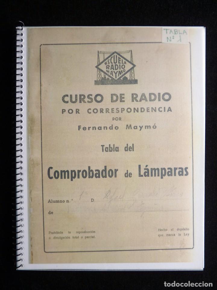 TABLA DEL COMPROBADOR DE LAMPARAS CURSO RADIO ESCUELA DE RADIO MAYMO, BARCELONA, AÑOS 50. FOTOCOPIA (Radios - Aparatos de Reparación y Comprobación de Radios)