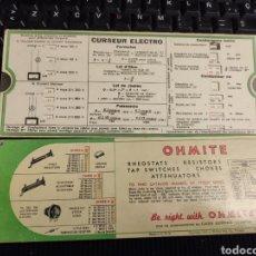 Radios antiguas: TARJETAS DE EQUIVALENCIA.. Lote 291238528
