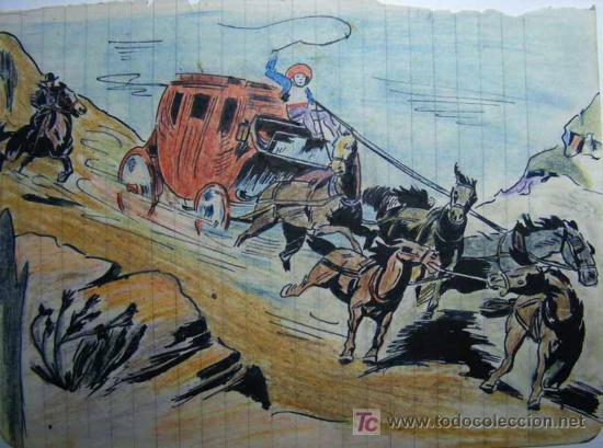 Dibujo Original Pintado En Acuarela Comic Tebe Sold Through
