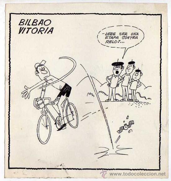 BILBAO-VITORIA. CHISTE ORIGINAL PEÑARROYA PUBLICADO EN PRENSA. CICLISMO. LA VUELTA. AÑOS 70 (Tebeos y Comics - Comics - Art Comic)