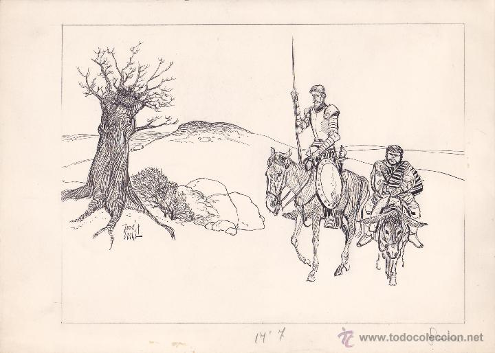 DIBUJO ORIGINAL DE JOSÉ LUIS MACÍAS PARA EL QUIJOTE (Tebeos y Comics - Art Comic)