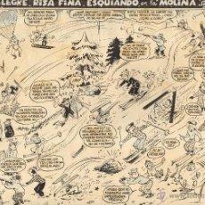 Cómics: PAGINA ORIGINAL DE AYNE PUBLICADA EN LA RISA - ESQUIANDO EN LA MOLINA. Lote 40016197