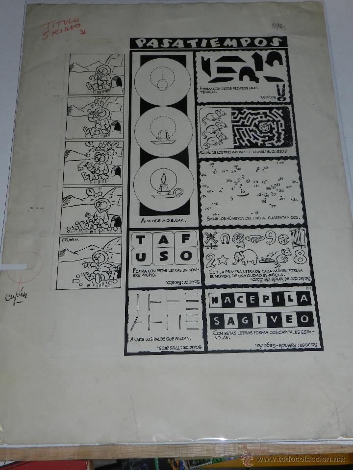 (M-804) DIBUJO ORGINAL POR MARTI - PASATIEMPOS - 47 X 34 CM, EDT CLIPER , SEÑALES DE USO (Tebeos y Comics - Art Comic)
