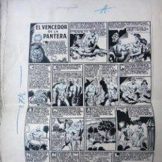 Cómics: DIBUJO ORIGINAL PLUMILLA , EL VENCEDOR DE LA PANTERA , LUIS GAGO , 2 HOJAS , ALMANAQUE GUERRERO. Lote 44922242