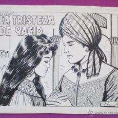 Cómics: DIBUJO ORIGINAL PLUMILLA, LA TRISTEZA DE YACID, 11 HOJAS, PILAR MIR, CASCABEL, 1961. Lote 46316120