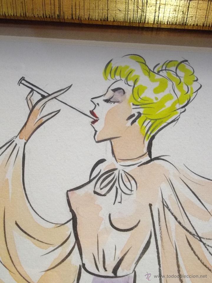 Cómics: Gran dibujo años 50 tinta acuarela original ilustración pin up mujer sofisticada mid century vintage - Foto 2 - 47029954
