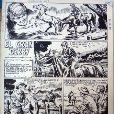 Cómics: DIBUJO ORIGINAL PLUMILLA , EL GRAN DERBY , ROBERT LLIN , JAIMITO Nº 165 , 4 HOJAS , C. Lote 47065708