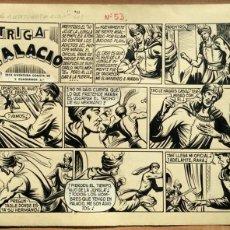 Cómics: DIBUJO ORIGINAL PLUMILLA- EL HIJO DE LA JUNGLA -Nº53- INTRIGA EN PALACIO 2ª PARTE DE 3 -1957 -PÁG. 1. Lote 47775795