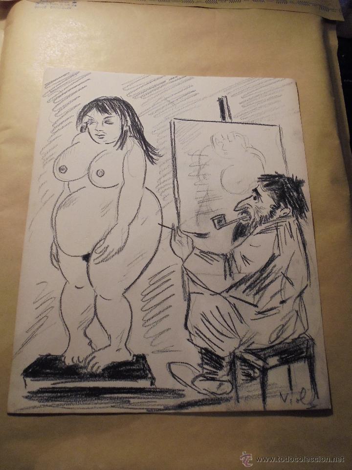 VIOLA - DIBUJO ORIGINAL PARA REVISTA O TEBEO . 24,5X20 CM. (Tebeos y Comics - Art Comic)