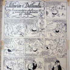 Cómics: DIBUJO ORIGINAL ORIGINAL PLUMILLA, PALMERIN DE DATILANDIA , POR KARPA , 1948 , JAIMITO , 1 HOJA ,E. Lote 48717702