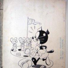 Cómics: DIBUJO ORIGINAL PLUMILLA , CONTRAPORTADA LIBROS PUMBY Nº 3 , 1 HOJA , E. Lote 48718292