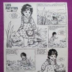 Cómics: DIBUJO ORIGINAL PLUMILLA, LOS PATITOS, PILAR MIR, 5 ENERO 1973, 2 HOJAS, A1. Lote 48996971