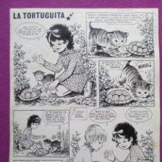 Cómics: DIBUJO ORIGINAL PLUMILLA, LA TORTUGUITA, PILAR MIR, 2 DICIEMBRE 1972, 2 HOJAS, A6. Lote 48997016